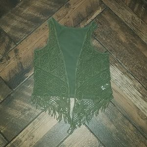 Justice crochet front vest with fringe